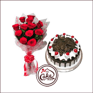 Black Forest Cake And Red Roses