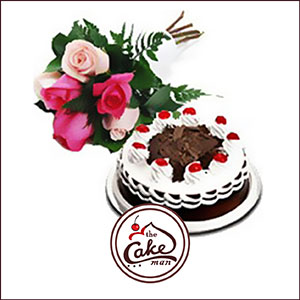 Black forest cake and six mix roses