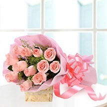 12 Pink roses delivery in Noida
